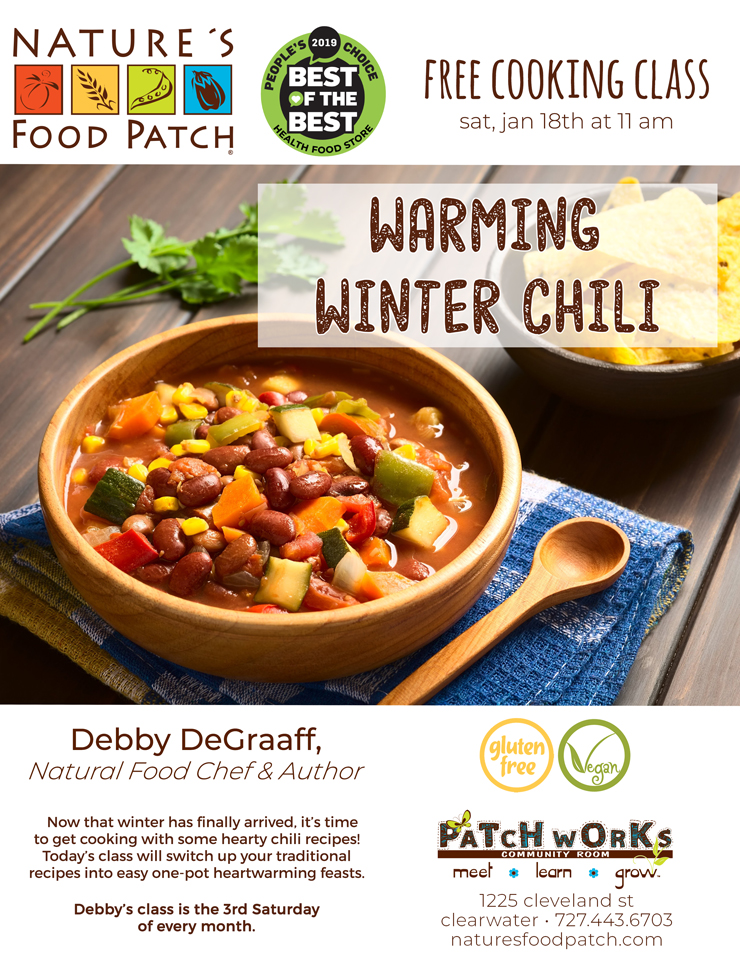 Free Cooking Class: Warming Winter Chili, Nature's Food Patch - 1225 Cleveland Street - Clearwater