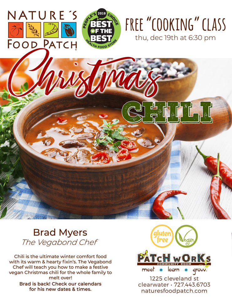 Free Cooking Class: Christmas Chili, Nature's Food Patch - 1225 Cleveland Street - Clearwater